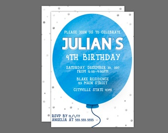 Blue Watercolor Balloon Birthday Party Invitation