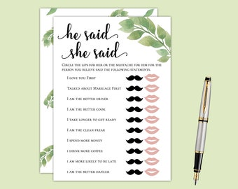 Luxury Eucalyptus He Said / She Said Bridal Shower Game