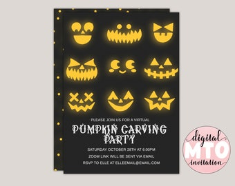 Pumpkin Carvings - Halloween Party Invitation - Pumpkin Carving Party, Kids Halloween Party, Virtual Halloween Party, Printable JPEG Or PDF
