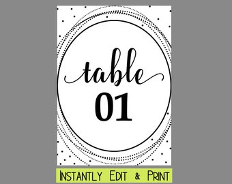 Geometric Oval Glam Wedding Table Numbers Template