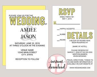 Printable Color Pop Modern Wedding Invitation Template Kit