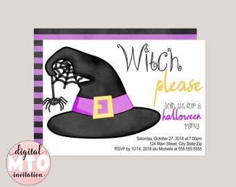 Witch Please Halloween Party Invitation, Virtual Party, Witches Hat, Fun Typography, Custom, Printable, Textable, Digital Invitation