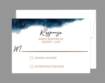 Watercolor Geometric Splash Wedding RSVP Card