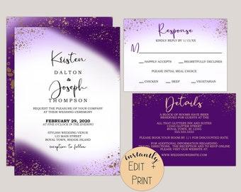 Royal Purple Passion Wedding Invitation Suite, Printable PDF Template