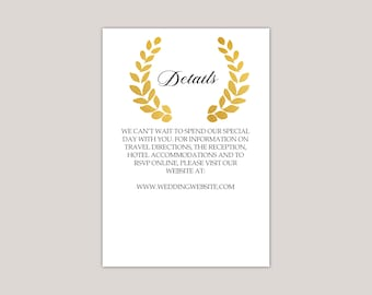Romantic Golden Wreath Enclosure Card