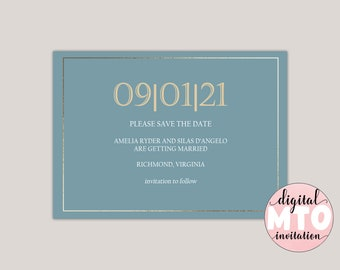 EVELYN - Classic Printable Save The Date Card, Save The Date Annoucement, Formal and Elegant, Custom Made for You, PDF or Digital JPEG