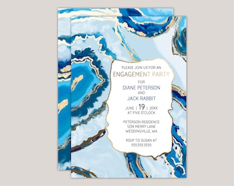 Blue Agate Geode Stone Engagement Party Invitation