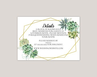 Simple Succulent Wedding Enclosure Card