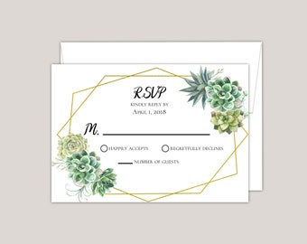 Simple Succulent Wedding RSVP Card