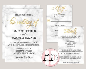 Marbleara - Editable Wedding Invitation Suite, Faux-Gold and Marble Wedding Set, Modern Calligraphy, Instant Download Template