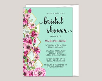 Pink Floral Geometric Bridal Shower Invitation