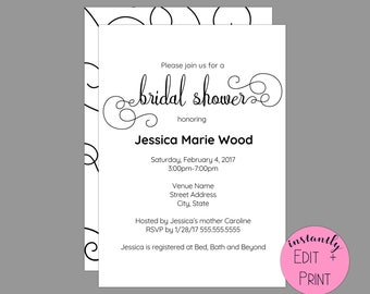 Elegant Swirls Calligraphy Bridal Shower Invitation