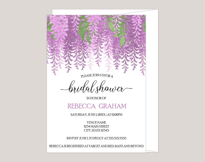 Featured listing image: Melisandre - Wisteria Flowers Bridal Shower Invitation, Made for You, Printed Invitation, Feminine Boho Floral Invitation, Free Envelopes