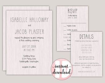 Rustic Wood Grain Wedding Invitation Suite Template Kit