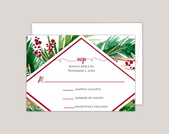 EVERGREEN - Winter Ferns and Red Berries Geometric RSVP Card, Printed Elegant Winter Wedding RSVP Card, Modern, Woodland