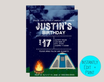Blue Camping Kids Birthday Invitation Template