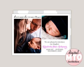 DREAMS COME TRUE - Baby Birth Announcement, Girl Birth Announcement, Baby Boy Announcement, Clouds, Sky, Photo Birth Announcement,