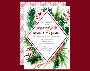 Winter Ferns Geometric Engagement Party Invitation