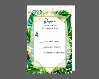 Tropical Foliage Wedding RSVP Card