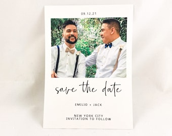 JACK - Printed Photo Save The Date Card, Wedding Announcement, Modern Calligraphy, Neutral Colors, Contemporary Design, Rounded Corners