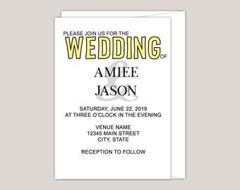 Color Pop  Wedding Invitation