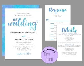 Modern Watercolor Calligraphy Wedding Invitation Suite, Printable PDF Template