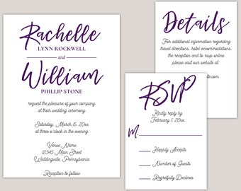 Matisse - Bold Brush Calligraphy, Wedding Invitation Suite, Custom Made For You, Wedding Invitation Set, Printed Invitations