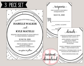 Oval Glam Modern Wedding Invitation Suite