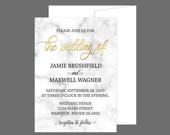 Metallic Gold and Marble Wedding Invitation