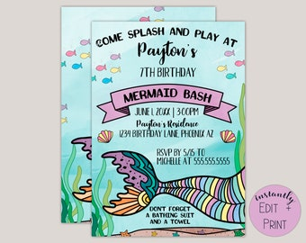 Splash and Play, Watercolor Mermaid Birthday Invitation Template