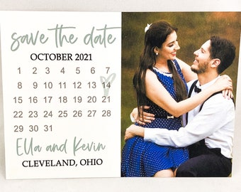SAGE - PRINTED Photo Calendar Save the Date Card, Wedding Annoucement, Modern, Farmhouse Chic, Custom Made Engagement Announcement