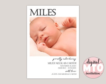 MILES - Baby Birth Announcement, Girl Birth Announcement, Baby Boy Announcement, Photo Birth Announcement, Printable Announcement