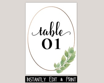 Watercolor Eucalyptus Table Numbers Template