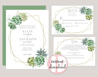 SAVANNAH - Stylish Succulent Editable Wedding Invitations