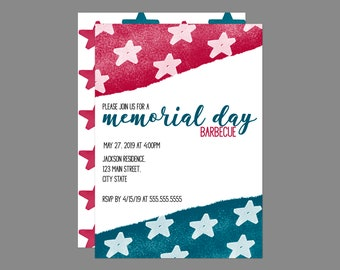 Watercolor Stars Memorial Day Party Invitation