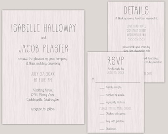 Rustic Modern Wood Wedding Invitation Suite