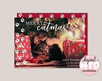 Merry Catmas Funny Pet Christmas Card