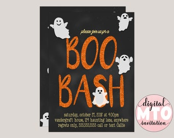 Boo Bash Halloween Party Invitation, Costume Party, Ghost Party, Virtual Party, Custom Digital Invitation, Printable Invitation