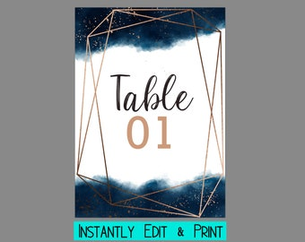 Navy and Copper Watercolor Splash Table Numbers Template
