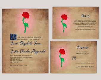 Enchanted Rose - Romantic Story Book Wedding Invitation Suite, Printed Wedding Invitations, Custom Made for You, Traditional Wedding Invites