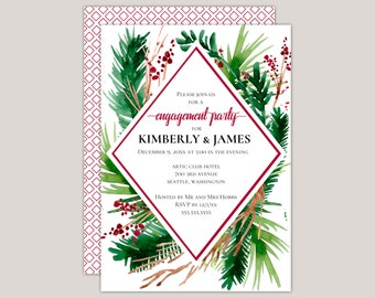Evergreen - Winter Ferns Geometric Engagement Party Invitation