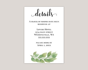 Luxury Eucalyptus Wedding Enclosure Card