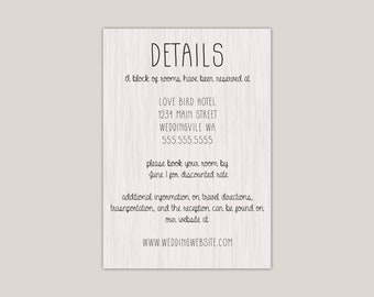 Rustic Modern Wood Wedding Enclosure Card