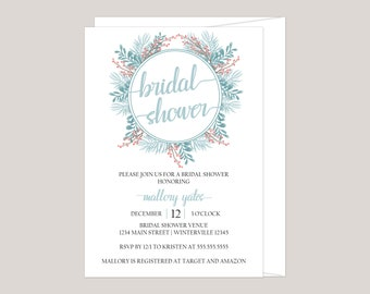 APATITE- Winter Garden  Bridal Shower Invitation, Made for You, Printed Invitation, Feminine Boho Floral Invitation, Free Envelopes