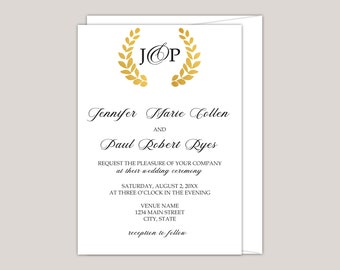 Romantic Golden Wreath with Monogram Wedding Invitation