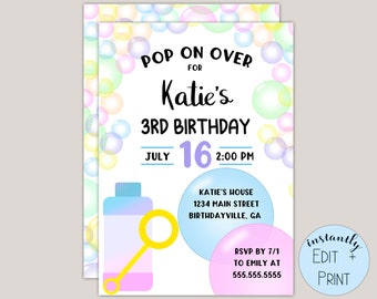 Pop On Over Bubble Party Printable Birthday Invitation in editable PDF format