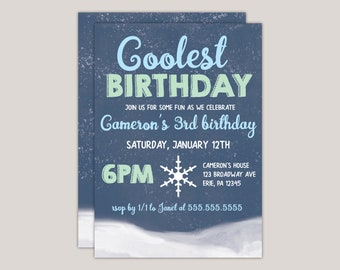 Coolest Birthday Winter Birthday Party Invitation