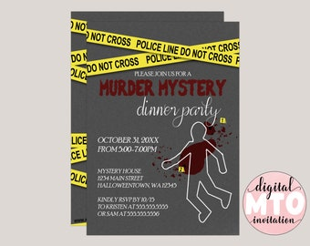Murder Mystery Dinner Party, Halloween Party Invitation, Spooky Halloween Invite, Printable Invitation, PDF or JPEG