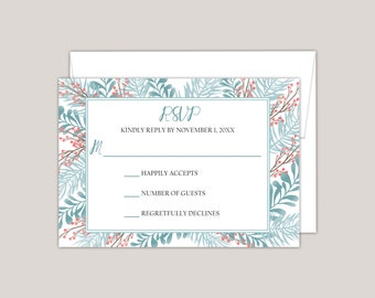 APATITE -Response Card, RSVP Card with Envelope, Printed RSVP Card, Winter Garden, Boho, Whimsical Wedding
