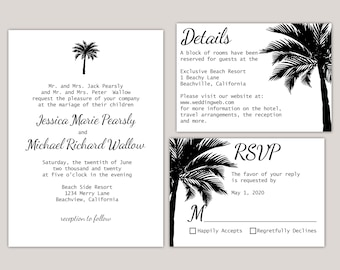 Elora - Palm Tree Beach Wedding Invitation Suite, Invitation Set, Silhouette Palm Tree, Printed Invitations, Summer Wedding, Ocean Wedding